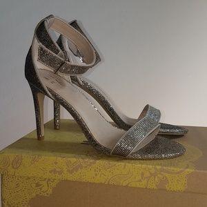 Gold Glittery Strappy Sandals Sz 9.5
